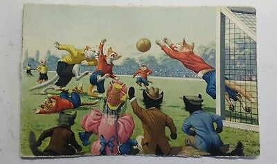 1930s Dressed Cats Playing Football Postcard Vintage Max Kunzli No. 4674