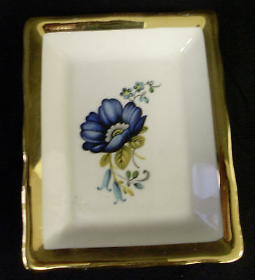 Prinknash Pottery Small Rectangular Plate Pin Tray - Blue Flowers Gold Rim (Su)