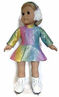 Doll Clothes fits 18 inch American Girl-Rainbow Sequin Skating Dress & Earmuffs