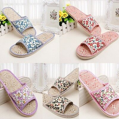 Women/Men Home Indoor Linen Floral Slipper Open Toe Flax House Flat Slippers