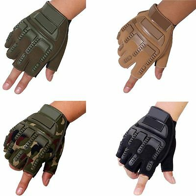 Military Tactical Half Spandex Finger Motorcycle Hard Knuckle Hand Grips Gloves