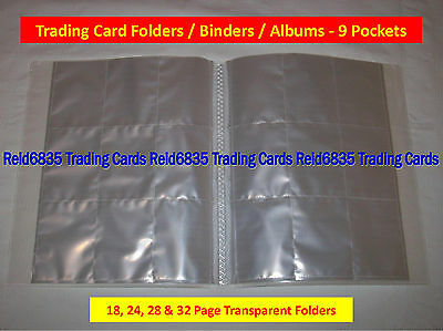 Trading Card Folders / Binders / Albums - 9 Pockets Pages (18, 24, 28 & 32 Page)