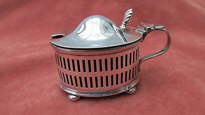 A Superb Vintage Oval pierced Silver Plate Mustard Pot with Cobalt Blue Liner