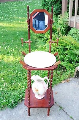 Vintage Antique Style Solid Wood Wash Basin Mirror With Pitcher & Bowl NICE