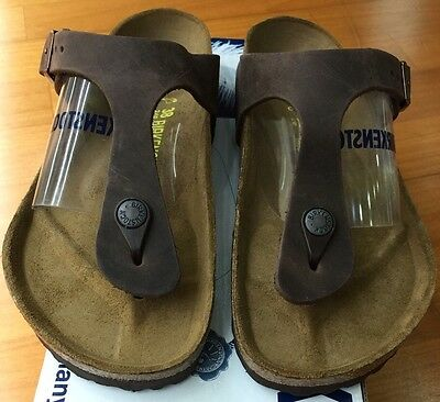 65e23a47c14e Birkenstock Gizeh 743831 size 37 L6~6.5 R Habana Oiled Leather Thong Sandals