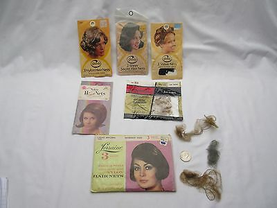 Vintage retro American nylon hair nets x 6 pkts - lots of nets NOS .