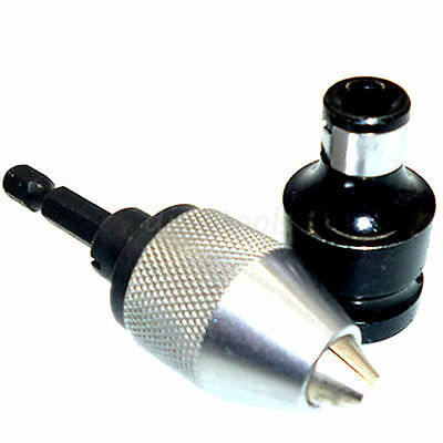 """1/4 Mini Snap In Hex Shank Keyless Electric Drill Chuck + 1/2"""" To 1/4"""" Converter"""