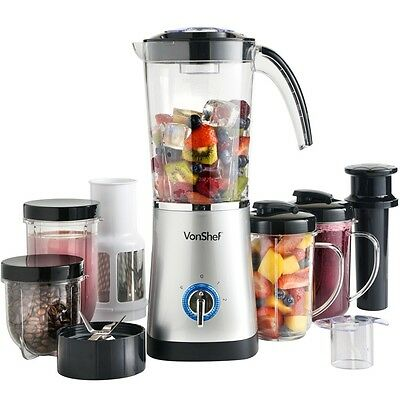 VonShef 4-in-1 Blender, Grinder, Juicer + Smoothie Maker -Stainless Steel Blades