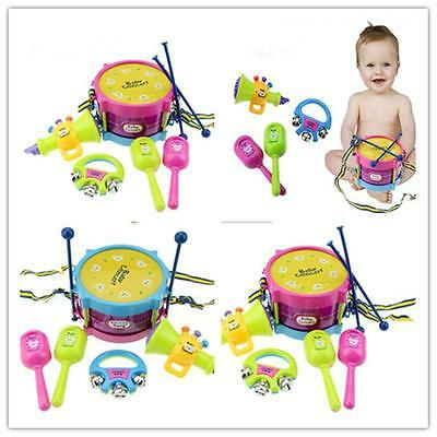 Funny 5pcs Kids Roll Drum Musical Instruments Band Kit Children Toy Gift Set N1