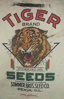 Vintage Grain Sack Bag TIGER logo Seeds Sommer Bros. Seed Co Pekin ILL. 1 Bushel