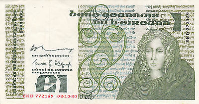 IRELAND: ONE POUND, 8-10-1980, P-70b, QUEEN MEDB/IRISH MANUSCRIPT