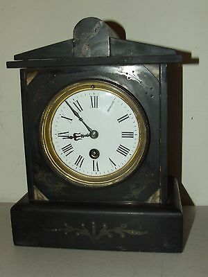 Antique Working 19th C. French Victorian Black Marble Slate Mantel Shelf Clock