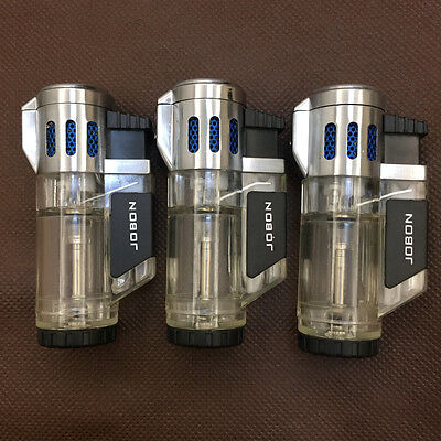 3 Pcs JOBON High-Capacity Triple Jet  Torch Pipe Cigar Cigarette Lighter Silver