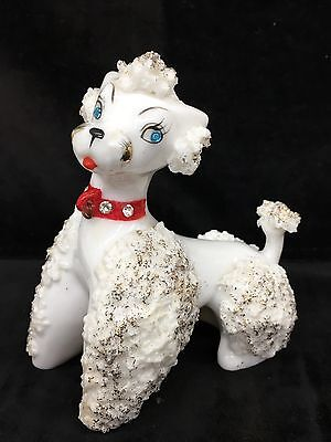 """Vintage 4-1/2""""x4"""" Spaghetti Glass Poodle with Rhinestone Eyes and Collar"""