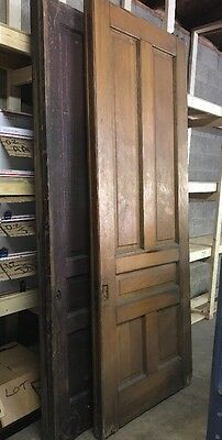 ~ ANTIQUE Quarter Sawn Oak VICTORIAN POCKET DOOR 37 X 99 ARCHITECTURAL SALVAGE