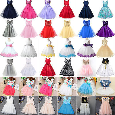 Girl Flower Formal Dress Wedding Bridesmaid Birthday Pageant Princess Tutu Dress