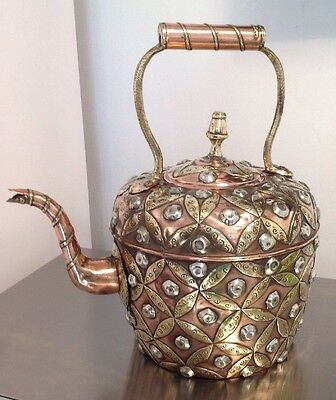 Antique Anglo Indian Large 8 Pint Ornate Brass + Silver Metal Decorated Kettle