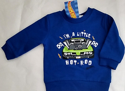 Hot Wheels Baby Boy 000 Blue Fleecy Lined Sweatshirt I'm A Little Hot Rod Car