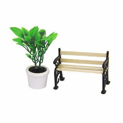 Green Plant in a Pot and Wooden Garden Bench Miniature Black Metal Park H7C2