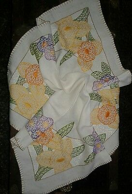 "Vintage Hand Embroidered Tablecloth 33"" Square"
