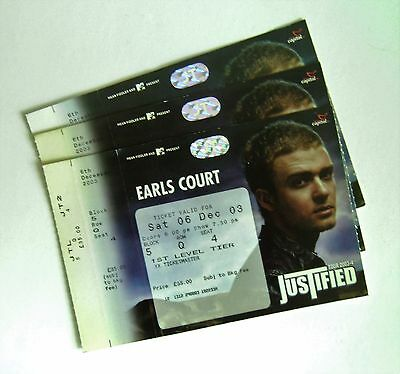 RARE Justin Timberlake Memorabilia - Unused Tickets Stub(s) Earls Court 06/12/03