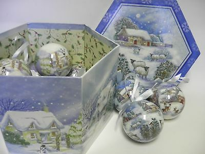 "Ball Christmas Ornaments Set of 12 Blue Christmas Village 3"" In Box Decoupage"