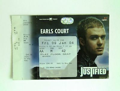 RARE Justin Timberlake Memorabilia - Unused Tickets Stub(s) Earls Court 09/01/04
