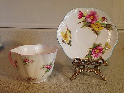 Dainty Shelley England Bone China Tea Cup And Saucer, Begonia Pink & Yellow Rose