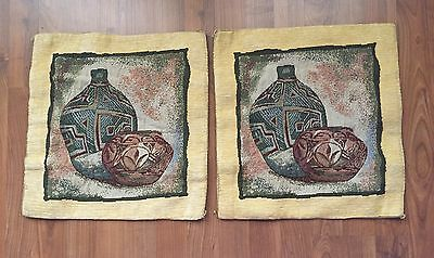 """Set of 2 Vintage Middle East Arab Hand Made Tapestry Pillow Case Covers Ecru 16"""""""