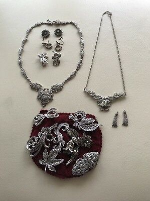 Collection Of 12 Vintage Victorian/edwardian Silver & Marcasite Jewellery