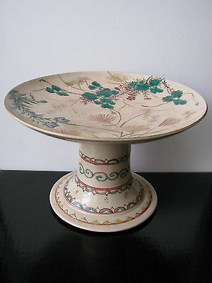 Antique 19th c Satsuma KINKOZAN Ware Tall Cake Stand Compote - Beauty - Signed