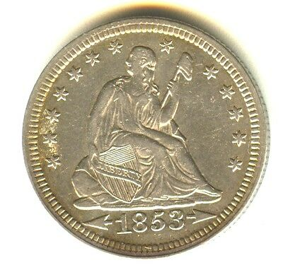 1853 Seated Liberty Quarter Arrows & Rays AU Better Date Philadelphia Mint A&R