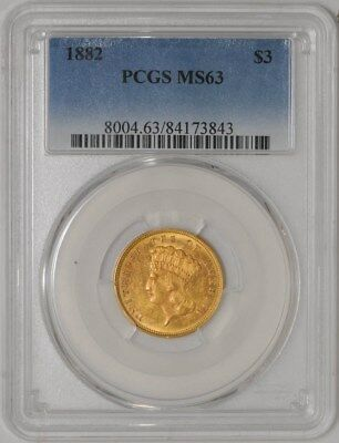 1882 $3 Gold Indian MS63 PCGS