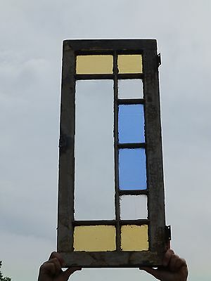Small Antique Stained Glass Window Sash Old Shabby Victorian Chic 34x14 171-17P