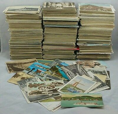 100 Vintage Postcards Collection UK & Foreign Topo B/W Colour Joblot Unused Only