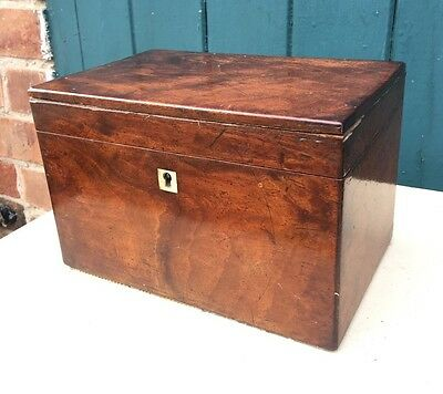 Antique Mahogany Tea Caddy With Glass