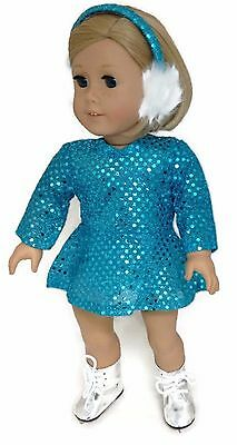 Doll Clothes Skating Dress /& Earmuffs Purple Sequin fits 18 inch American Girl