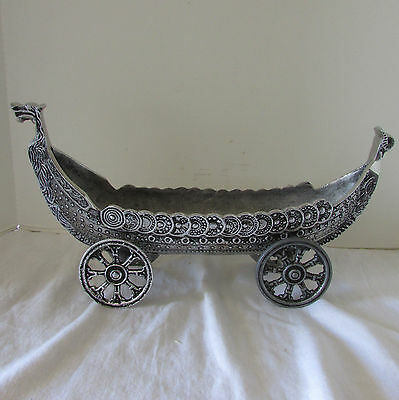 Unusual VTG Aluminum Viking Ship Centerpiece Bowl on Wheels Griffin Head & Tail