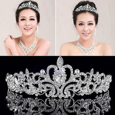 Exquisite Wedding Tiara Brides Crown Rhinestone Silver Headband Pageant Party LM