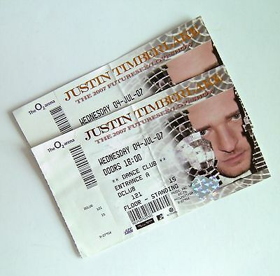 Justin Timberlake Memorabilia - Unused Tickets Stub(s) O2 Arena London 04/07/07