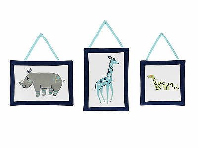 Sweet Jojo Wall Art Decor Hangings for Blue Grey White Mod Jungle Bedding Set