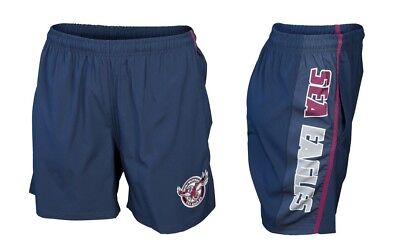 Manly Sea Eagles NRL Classic Training/Gym Shorts With Pockets Sizes S-5XL!6