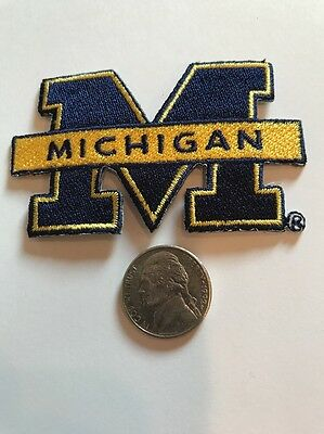 """University Of Michigan Wolverines Vintage Embroidered Iron On Patch 1.5 """" X 3"""""""