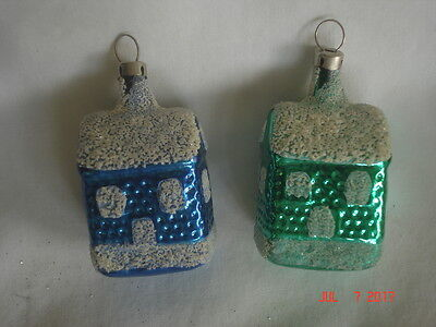 WOW LOT 2 Vtg. CZECHOSLOVAKIA BLOWN GLASS HOUSE / CHURCH ORNAMENTS Green & Blue