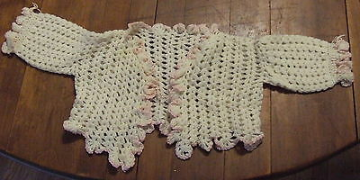 Vintage White Crochet Baby Sweater W/ Pink Trim Doll Child  Clothes