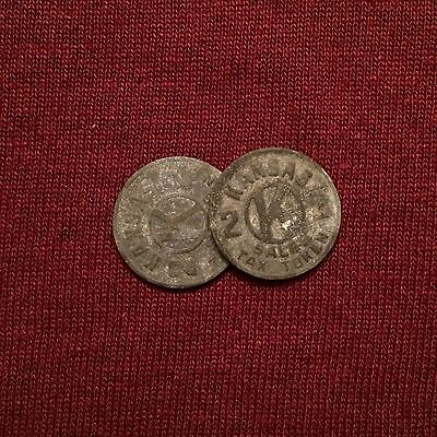 (Lot Of Two) Vintage Rare Kansas Sales Tax Tokens LOT#V112