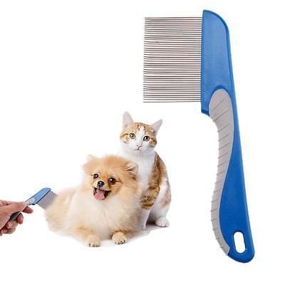 Dog Cat Pet Stainless Steel Rake Comb Hair Grooming Trimmer Cleaning Brush Blue