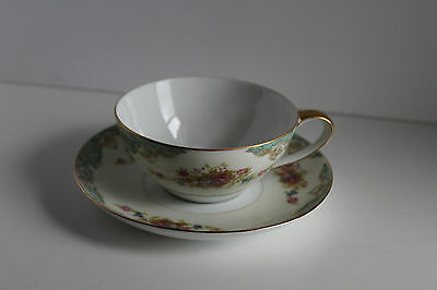 VINTAGE Cup & Saucer set Jyoto Fina China Occupied Windsor Pattern Gold rim Japa