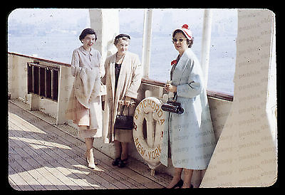 Lot of 4 Vintage 1950s 35mm Slides Photos - ABOARD SS EXOCHORDA SHIP, NEW YORK
