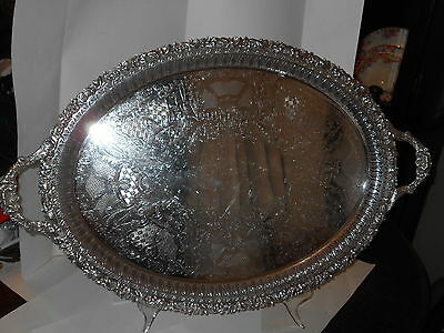 Antique Birks Regency Silverplated Handchased  Ornate Butler Tray 28 In